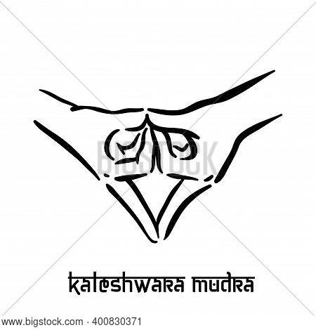 Kaleshwara Mudra. Hand Spirituality Hindu Yoga Of Fingers Gesture. Technique Of Meditation For Menta