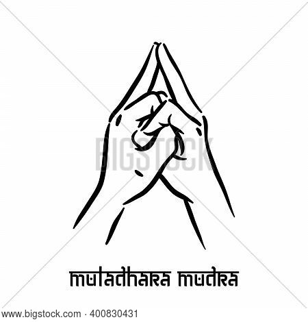 Muladhara Mudra. Hand Spirituality Hindu Yoga Of Fingers Gesture. Technique Of Meditation For Mental