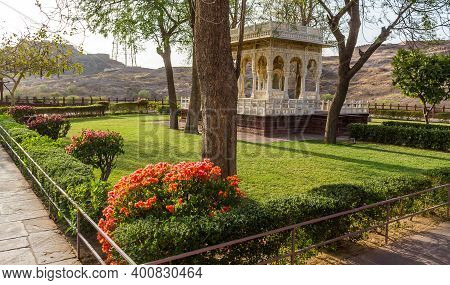 Jodhpur, India - April 06, 2019 - Jaswant Thada Cenotaph Located In Jodhpur Built By Maharaja Sardar