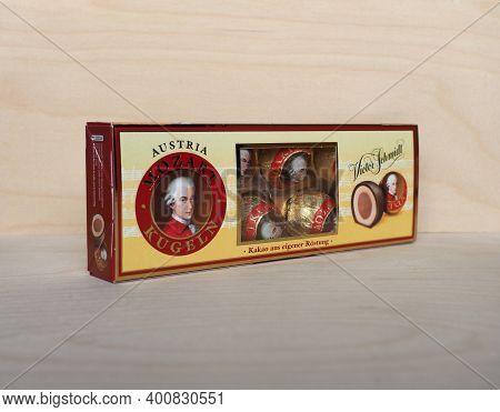 Salzburg - Dec 2020: Victor Schmidt Packet Of Mozart Kugeln