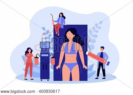 Liposuction Procedure Flat Illustration. Team Of Doctors And Female Patient With Dotted Marks On Bod
