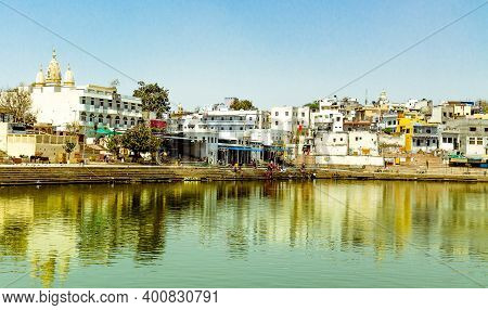 Pushkar, India - April 7, 2019 - Devotees Use To Take A Dip Into This Pushkar Lake (a Sacred Place F
