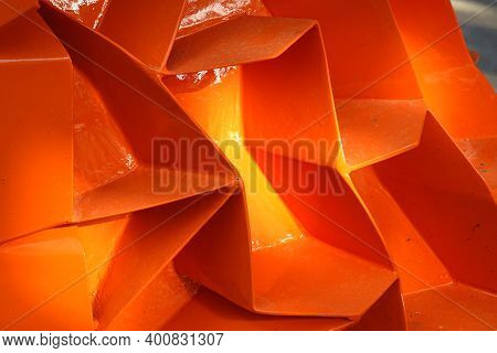 Orange Perforated Steel Plate For Background, Iron Perforated Sheet Metal.