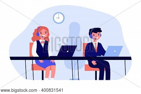Happy Children Studying In Computer Class. Laptop, Headset, It Flat Vector Illustration. Education A