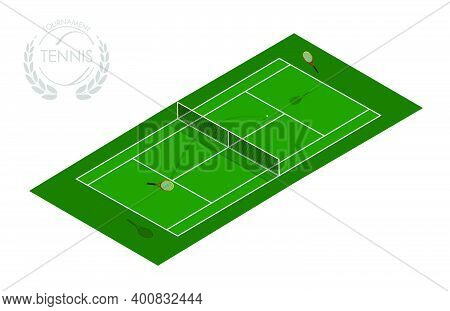 Sports Tennis Court With Rackets And Ball. Active Lifestyle. Isometric Vector