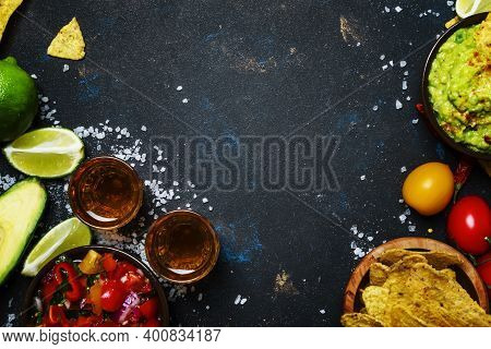 Tex-mex Concept, Nachos, Guacamole, Salsa Sauce And Tequila, Food Background, Top View