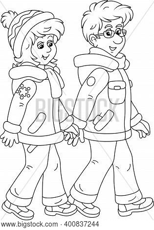 Young Man And Woman Friendly Smiling, Talking And Walking Together Hand In Hand On A Winter Stroll,