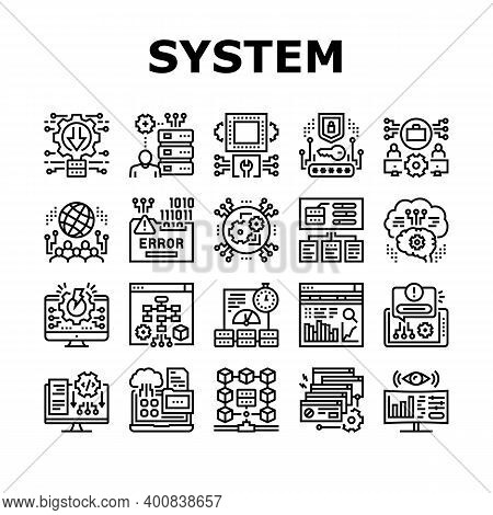 System Work Process Collection Icons Set Vector. Integration And Administrator, Engineering And Secu