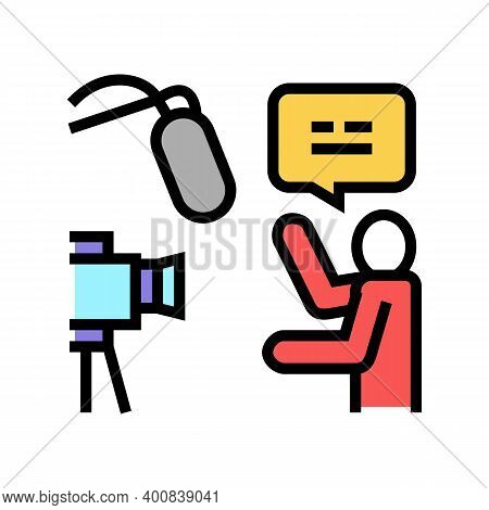 Recording News Color Icon Vector. Recording News Sign. Isolated Symbol Illustration