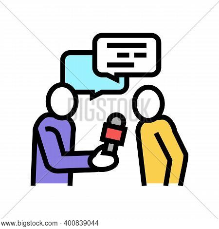Interview Journalist Color Icon Vector. Interview Journalist Sign. Isolated Symbol Illustration