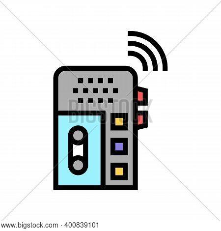 Dictaphone, Voice Recorder Gadget Color Icon Vector. Dictaphone, Voice Recorder Gadget Sign. Isolate