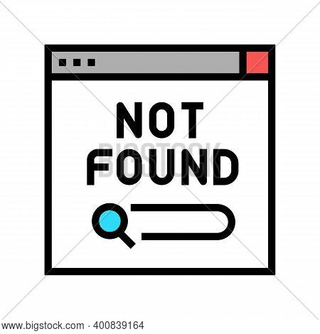 Not Found Web Page Color Icon Vector. Not Found Web Page Sign. Isolated Symbol Illustration