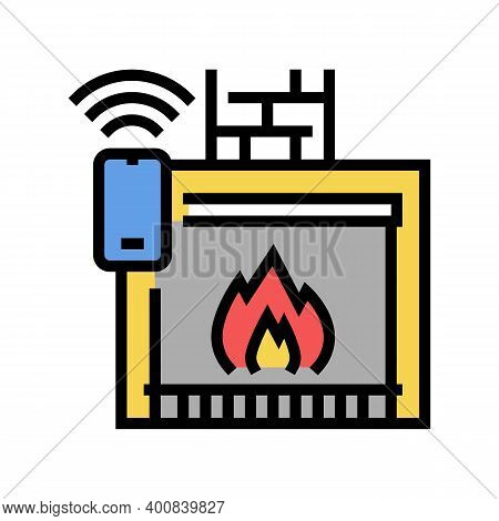 Fireplace Control System Of Smart Home Color Icon Vector. Fireplace Control System Of Smart Home Sig