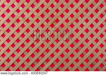 Texture Of Decorative Wooden Lattice With Colored Background