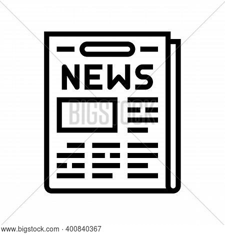 Newspaper With News Articles Line Icon Vector. Newspaper With News Articles Sign. Isolated Contour S