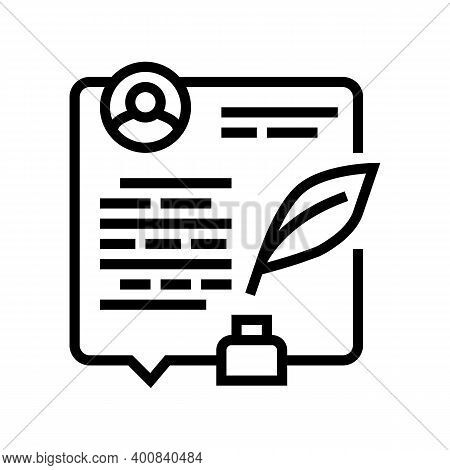 Writing News Article Line Icon Vector. Writing News Article Sign. Isolated Contour Symbol Black Illu