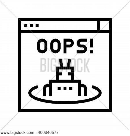 Oops Web Error Line Icon Vector. Oops Web Error Sign. Isolated Contour Symbol Black Illustration