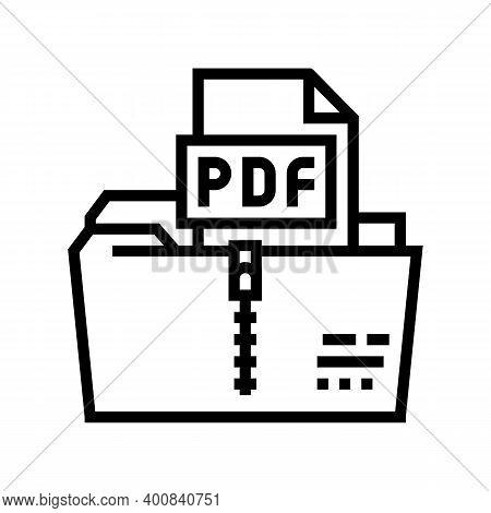 Archiving Pdf File Line Icon Vector. Archiving Pdf File Sign. Isolated Contour Symbol Black Illustra