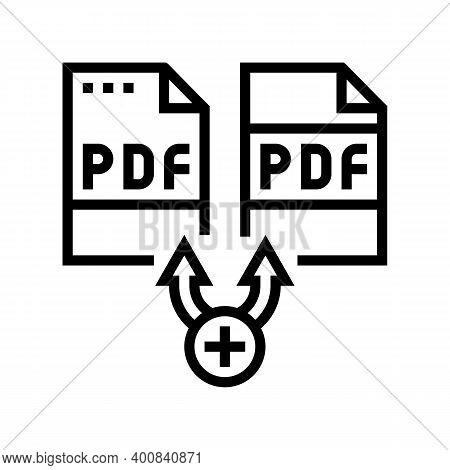 Renewal Pdf Software Line Icon Vector. Renewal Pdf Software Sign. Isolated Contour Symbol Black Illu