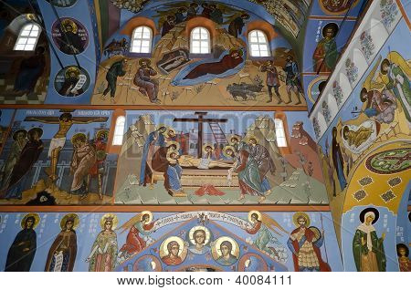 Interior Of The Trinity Cathedral In Pochaev Lavra, The Painting On The Walls - Christmas, Crucifixi