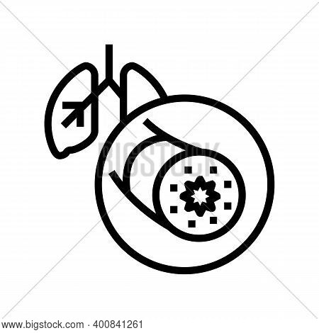 Asthma Of Adult Human Line Icon Vector. Asthma Of Adult Human Sign. Isolated Contour Symbol Black Il