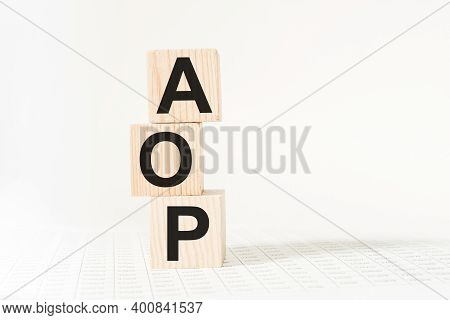 Wooden Cubes With Text Aop . The Medicine. Medical Concept