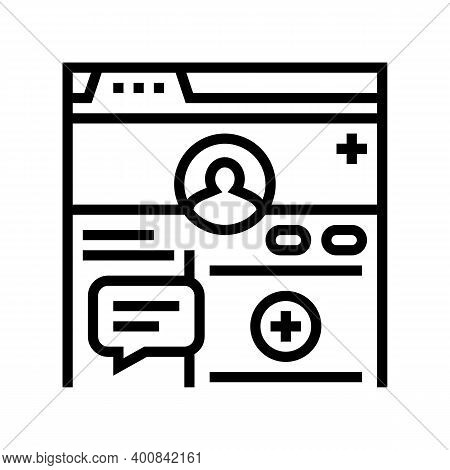 Registration Social Page Line Icon Vector. Registration Social Page Sign. Isolated Contour Symbol Bl