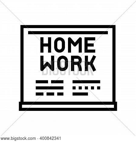 Homework On Blackboard Line Icon Vector. Homework On Blackboard Sign. Isolated Contour Symbol Black