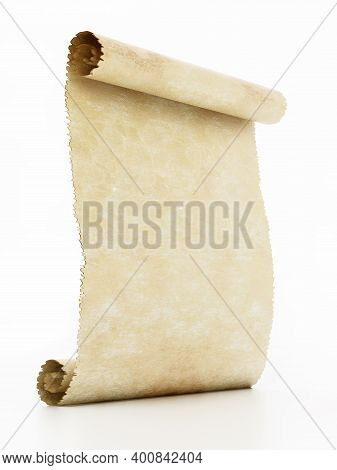 Old Blank Parchment Isolated On White Background. 3d Illustration.