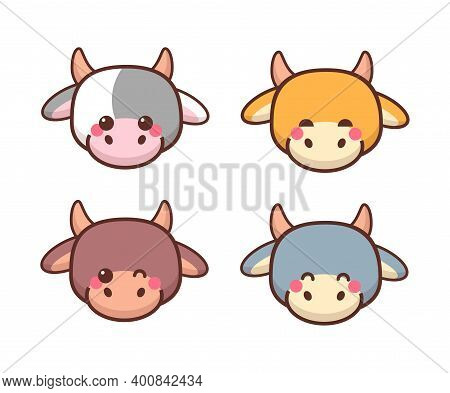 Set Little Oxes Heads Chinese Happy New Year Celebration Cute Cows Mascot Cartoon Characters Collect