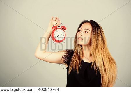 Practice Of Advancing Clocks. Daylight Saving Time. Change Time Zone. Pretty Girl Managing Her Time.