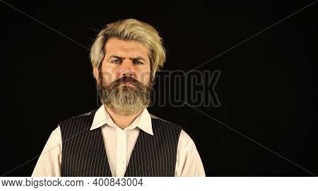 Commercial Announcement. Retro Gentlemen. Mature Handsome Man. Man In Vintage Style. Brutal Bearded