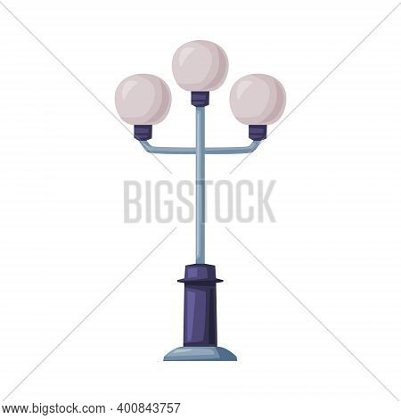 Street Light Or Lamppost As Road Light Source Isolated On White Background Vector Illustration