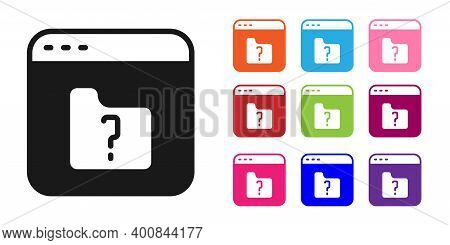 Black File Missing Icon Isolated On White Background. Set Icons Colorful. Vector