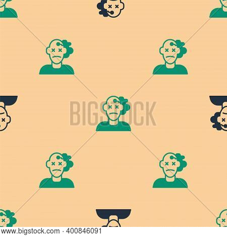 Green And Black Murder Icon Isolated Seamless Pattern On Beige Background. Body, Bleeding, Corpse, B