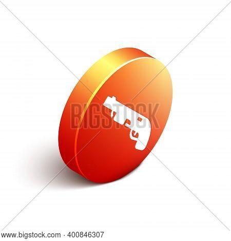 Isometric Police Shotgun Icon Isolated On White Background. Hunting Shotgun. Orange Circle Button. V
