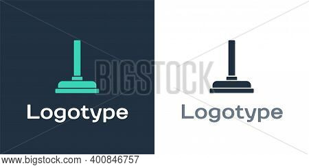 Logotype Rubber Plunger With Wooden Handle For Pipe Cleaning Icon Isolated On White Background. Toil