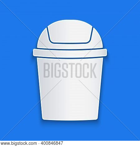 Paper Cut Trash Can Icon Isolated On Blue Background. Garbage Bin Sign. Recycle Basket Icon. Office