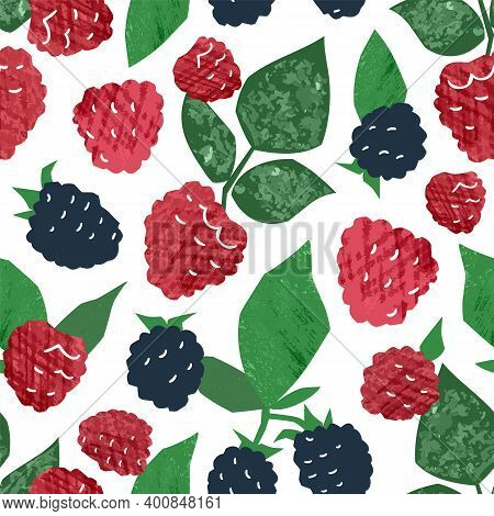 Juicy Hand Drawn Raspberry And Blackberry Seamless Pattern. Ripe Fresh Wild Berries Branches With Fr