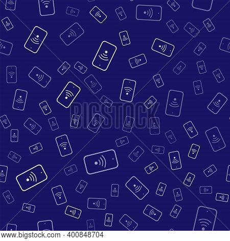 White Smartphone With Free Wi-fi Wireless Connection Icon Isolated Seamless Pattern On Blue Backgrou