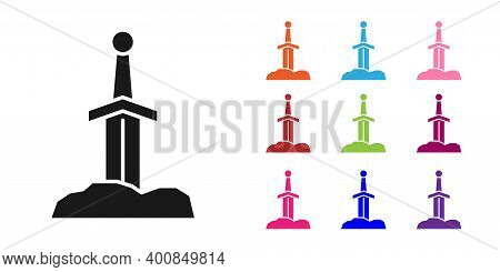 Black Sword In The Stone Icon Isolated On White Background. Excalibur The Sword In The Stone From Th