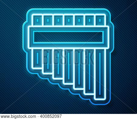 Glowing Neon Line Pan Flute Icon Isolated On Blue Background. Traditional Peruvian Musical Instrumen