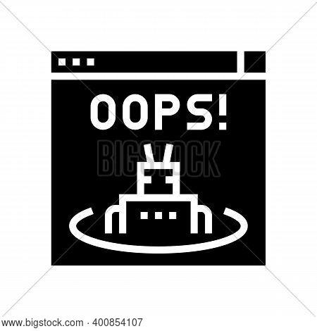Oops Web Error Glyph Icon Vector. Oops Web Error Sign. Isolated Contour Symbol Black Illustration