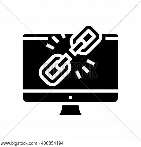 Link Disconnected Glyph Icon Vector. Link Disconnected Sign. Isolated Contour Symbol Black Illustrat
