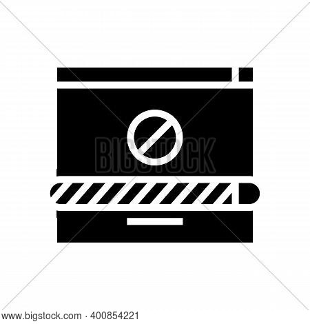 Disconnected Download Glyph Icon Vector. Disconnected Download Sign. Isolated Contour Symbol Black I