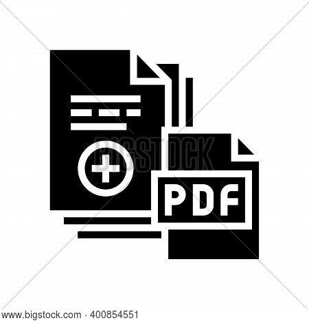 Documentation Scan Adding In Pdf File Glyph Icon Vector. Documentation Scan Adding In Pdf File Sign.