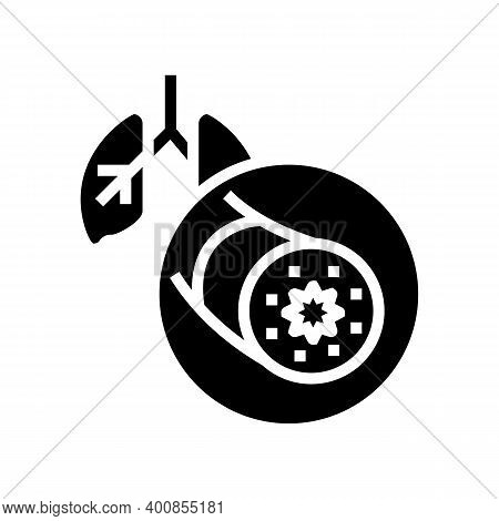 Asthma Of Adult Human Glyph Icon Vector. Asthma Of Adult Human Sign. Isolated Contour Symbol Black I