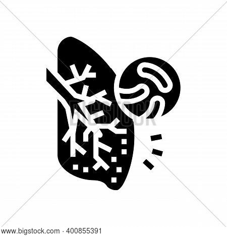 Tuberculosis Respiratory Disease Glyph Icon Vector. Tuberculosis Respiratory Disease Sign. Isolated