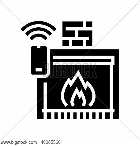 Fireplace Control System Of Smart Home Glyph Icon Vector. Fireplace Control System Of Smart Home Sig