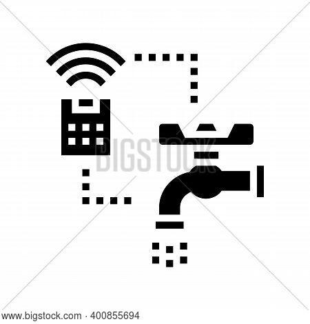 Faucet Control Of Smart Home Glyph Icon Vector. Faucet Control Of Smart Home Sign. Isolated Contour